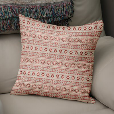 Cabarley Throw Pillow Size: 18 H x 18 W x 5 D, Color: Red/ Tan/ Ivory