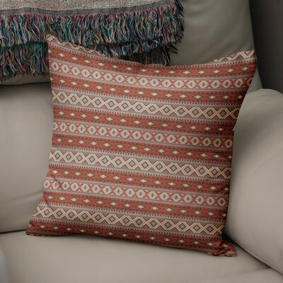 Cabarley Throw Pillow Size: 16 H x 16 W x 5 D, Color: Red/ Grey