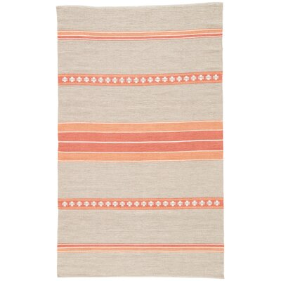 Camarillo Cotton Flat Weave Cement/Red Area Rug Rug Size: Rectangle 5 x 8