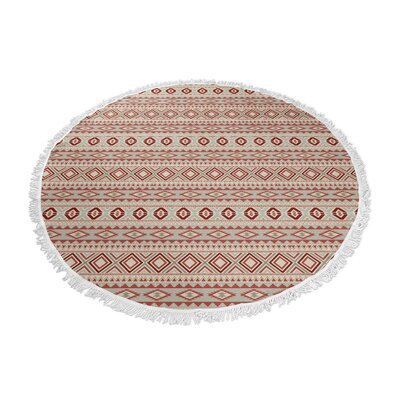 Cabarley Round Beach Towel Color: Red/ Tan/ Ivory