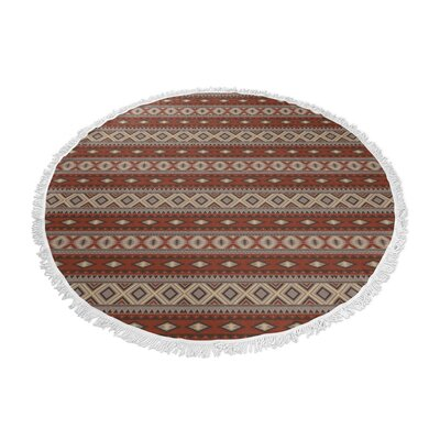 Cabarley Round Beach Towel Color: Red/ Grey