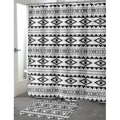 Fleur Cotton Blend Shower Curtain Color: Black, Size: 90 H x 70 W