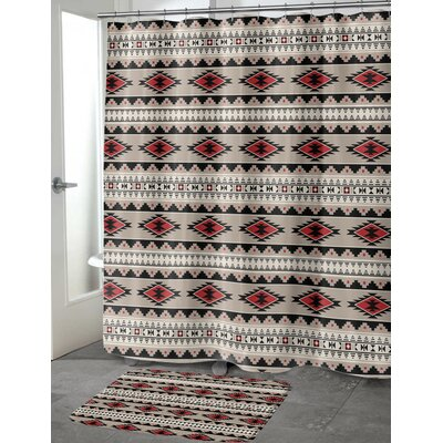 Fleur Cotton Blend Shower Curtain Color: Red, Tan, Size: 90 H x 70 W
