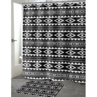 Fleur Cotton Blend Shower Curtain Color: Black/ White, Size: 90 H x 70 W