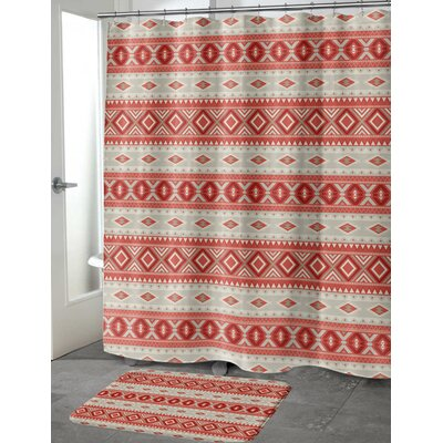 Cabarley Cotton Blend Shower Curtain Color: Red/ Tan, Size: 90 H x 70 W