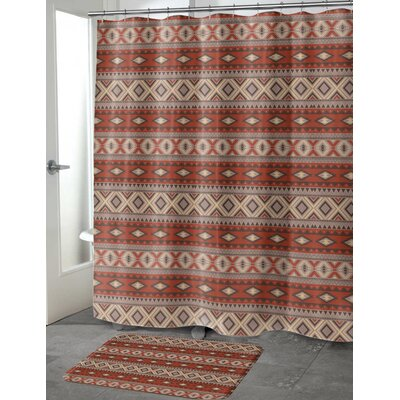 Cabarley Cotton Blend Shower Curtain Color: Red/ Grey, Size: 72 H x 70 W
