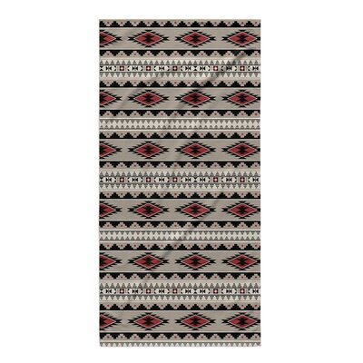 Fleur Beach Towel Color: Red, Tan