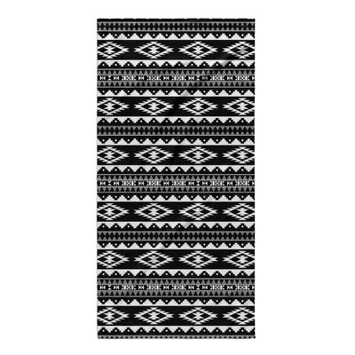 Fleur Beach Towel Color: Black/ White