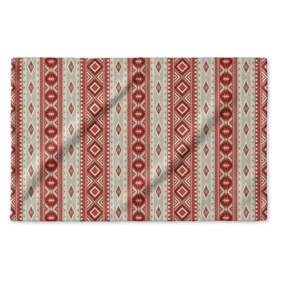 Cabarley Hand Towel Color: Red/ Tan