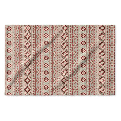 Cabarley Hand Towel Color: Red/ Tan/ Ivory
