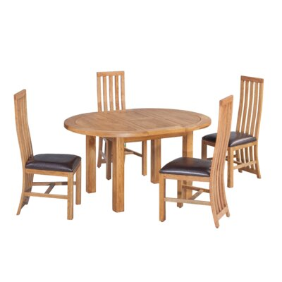 Arreola 5 Piece Extendable Breakfast Nook Dining Set Color: Natural Oak