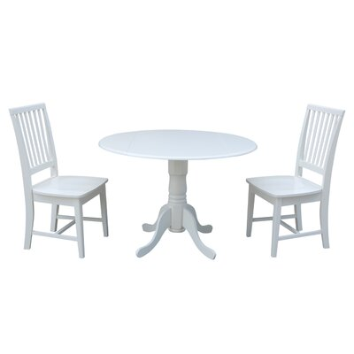 Pine Tree 3 Piece Drop Leaf Dining Set Color: White