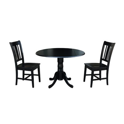 Cherokee 3 Piece Drop Leaf Dining Set Color: Black