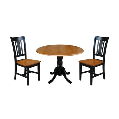 Cherokee 3 Piece Drop Leaf Dining Set Color: Black / Cherry