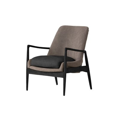 Wovenwood Armchair Upholstery: Black Gray, Finish: Matte Black