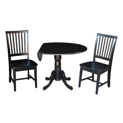 Pine Tree 3 Piece Drop Leaf Dining Set Color: Black