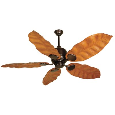 54 Cornelia 5-Blade Ceiling Fan in Oiled Bronze w/ Tropic Isle Honey Oak Wave Blade
