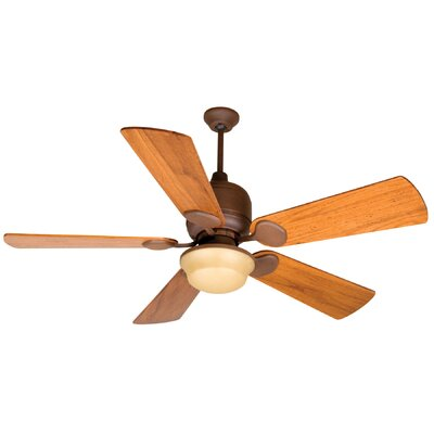 54 Cornelia 5-Blade Ceiling Fan in Rustic Iron w/ Distressed Oak Blades