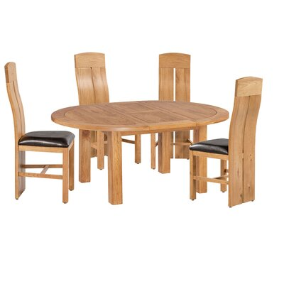 Kiazolu 5 Piece Extendable Breakfast Nook Dining Set Color: Light Dark Oak