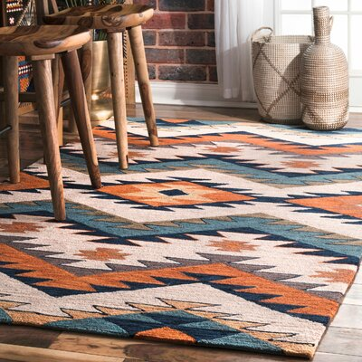 Tuttle Hand-Hooked Blue/Orange Area Rug Rug Size: Rectangle 4 x 6