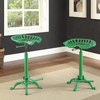 Elsinore Adjustable Height Swivel Bar Stool Finish: Tractor Green