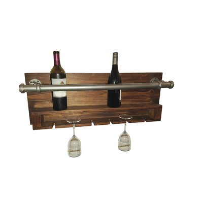 Industrial 2 Bottle Wall Mounted Wine Rack