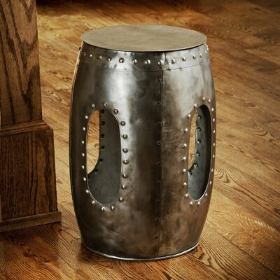 Curlew Industrial Barrel Stool End Table Color: Natural Steel
