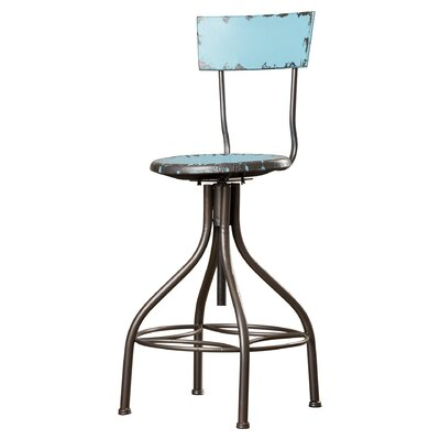 Lomita Adjustable Height Swivel Bar Stool Upholstery: Baby Blue