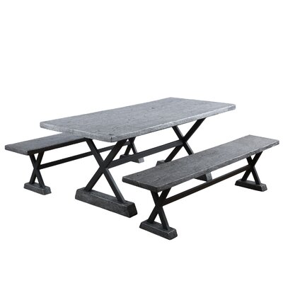 Besni 3 Piece Dining Set Color: Smokey Grey