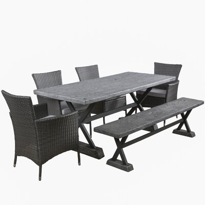 Blagnac 6 Piece Dining Set with Cushions Finish: Grey