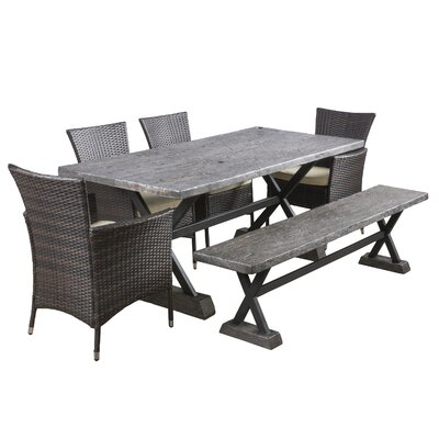 Blagnac 6 Piece Dining Set with Cushions Finish: Charcoal Brown