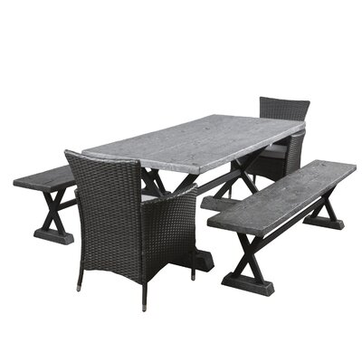 Austin 5 Piece Dining Set with Cushions Finish: Grey