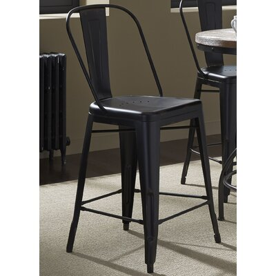 South Gate 26 Bar Stool (Set of 2) Finish: Black