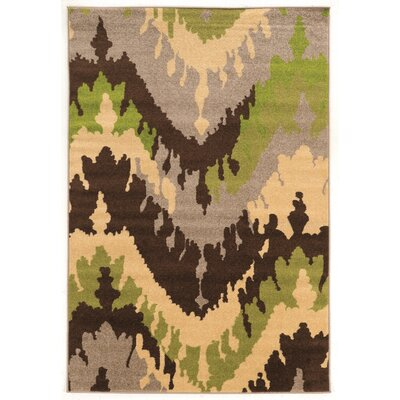 Thorton Brown/Green Area Rug Rug Size: 5 x 7