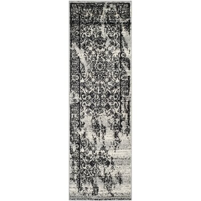 Costa Mesa Silver/Black Area Rug Rug Size: Runner 26 x 8