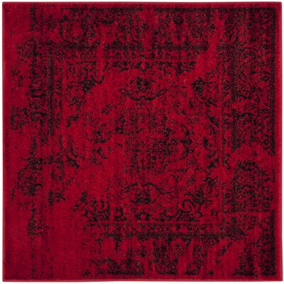 Costa Mesa Red/Black Area Rug Rug Size: Square 4'