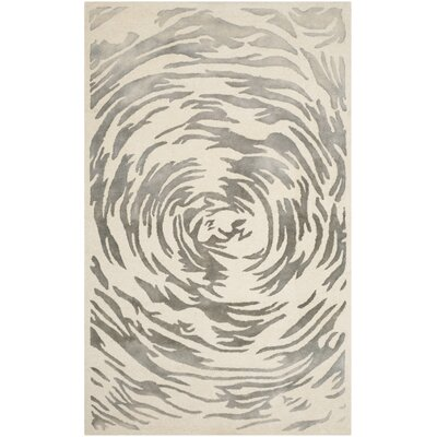 Adan Hand-Tufted Ivory/Grey Area Rug Rug Size: Rectangle 4 x 6