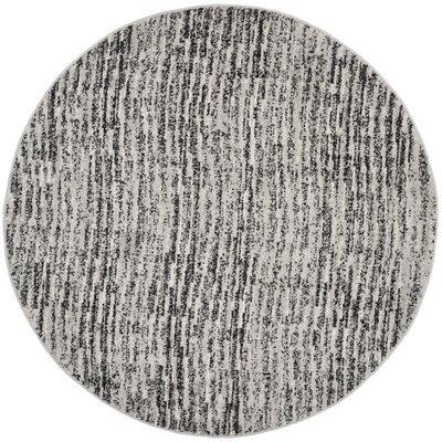 Millbrae Black/Beige Area Rug Rug Size: Round 4