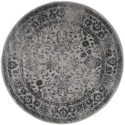 Costa Mesa Gray/Black Area Rug Rug Size: Round 6