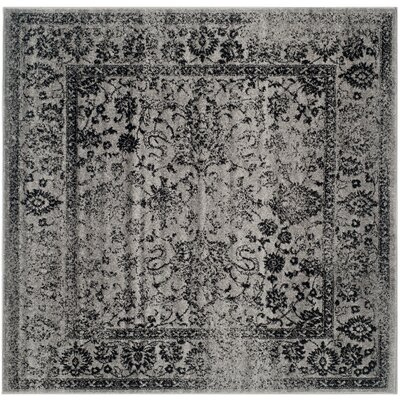 Costa Mesa Gray/Black Area Rug Rug Size: Square 8