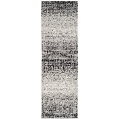 Costa Mesa Silver/Black Area Rug Rug Size: Runner 26 x 10