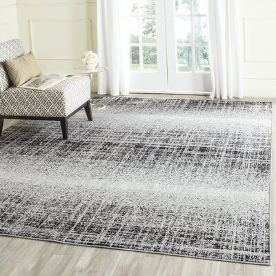 Costa Mesa Silver/Black Area Rug Rug Size: Rectangle 26 x 6