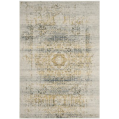 Baldwin Park Ivory/Blue Area Rug Rug Size: Rectangle 9 x 12