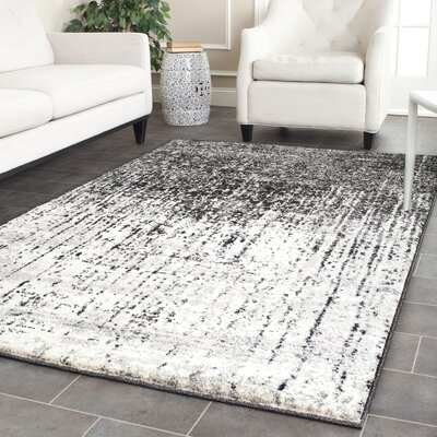 Duron Black/Light Grey Area Rug Rug Size: Rectangle 8 x 10