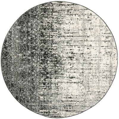 Twentynine Palms Black/Light Grey Area Rug Rug Size: Round 6