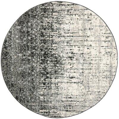 Duron Black/Light Grey Area Rug Rug Size: Round 8