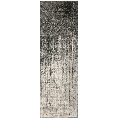 Duron Black/Light Grey Area Rug Rug Size: Runner 23 x 7