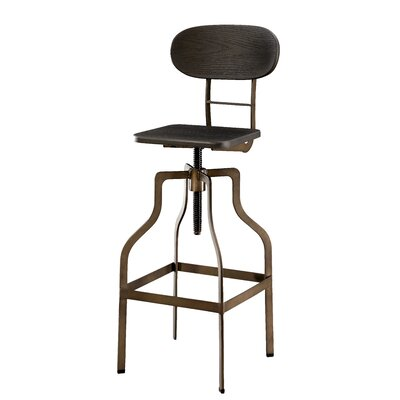 Menik Metal Adjustable Height Swivel Bar Stool Finish: Dark Brown