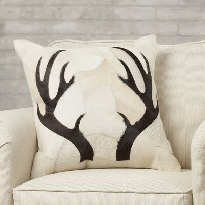 Agate Antler Piecework Hide Throw Pillow Color: Beige