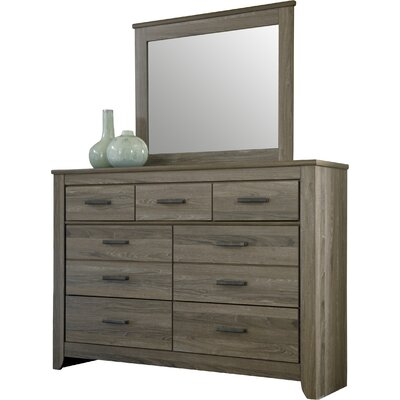 Orange 7 Drawer Double Dresser with Mirror